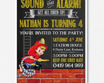 Fire House Fun,Fireman Party Invitation | Personalised Digital file