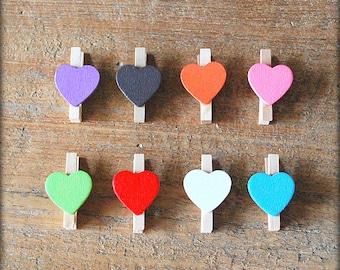 Mini knijpertjes colored hearts