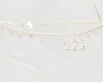 Silver Diamante Stone Gem Ankle Chain Anklet Indian Bollywood Grecian Bohemian Payal * Single or Pair *