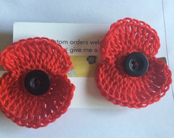 Remembrance Poppy Hair Clips