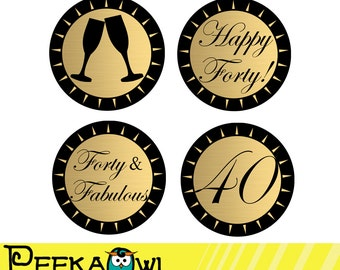 Instant Download Champagne Gold and Black 40th Birthday Cupcake Toppers - Printable 40th birthday topper, Favor tags, and Sticker!!!