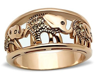 0.30 CTW Round Cut Rose Gold Elephant Caravan Ring with Elegant Yellow Citrine Crystals