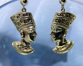 Vintage Signed Avon Egyptian Queen Nefertiti Gold Tone Earrings Pierced~1980~ReDUCED  35 %