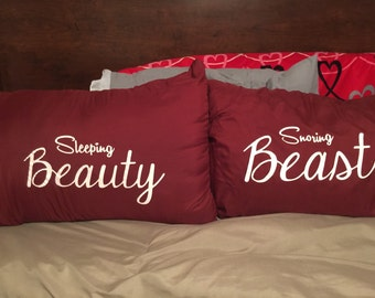 Sleeping Beauty and Snoring Beast pillow case set