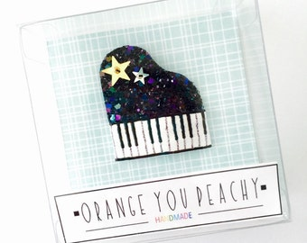 Piano Glittered Pop-Up Hair Clip -  glitter piano snap clip, piano hair clip, piano snap clip, glitter snap clip, summer hair clip