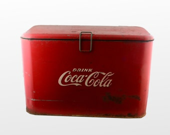Vintage Metal Coca Cola Cooler -Heavy Galvanized Coke Cooler Classic Cola Red with Latching Lid and Iconic Logo in Embossed White-Progress