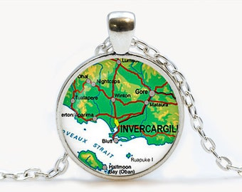Vintage Map Invercargill Glass pendant. Vintage Map Necklace. Vintage Map jewelry, birthday gift