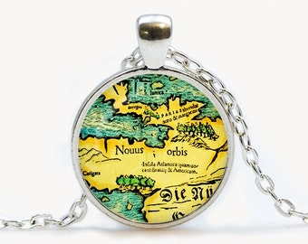 Vintage Map Glass pendant. Vintage Map Necklace. Vintage Map jewelry, birthday gift
