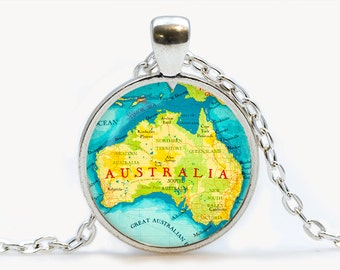 Australia Glass pendant. Australia Map Necklace.Australia Map jewelry, birthday gift