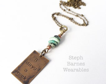 8 days a week necklace with African turquoise detail in bronze