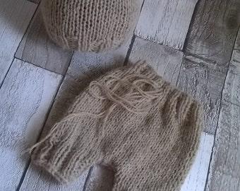 Little Bear hat & shorts set - Merino/alpaca yarn  - Newborn props ***RTS***