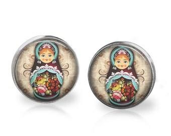 Babushka Stud Back Glass Earrings
