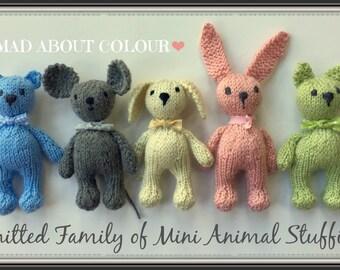 Mini Animal Stuffies KNiTTING PaTTERN Small Teddy Bear, Bunny Rabbit, Kitty Cat, Puppy Dog, Mouse Stuffed Toy KNiT PDF PaTTeRN TuTORiAL ONLY