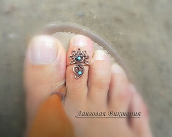 "Ring on the toe  ""Flower"", copper, turquoise. Wire wrap jewelry ring. Summer, beach, adjustable ring on the toe."