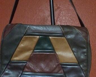 Vintage Leather Shoulder Bag, Patchwork Leather Shoulder Bag, Leather Crossbody, Patchwork Handbags, Multi Color Purse, 1970's Purses