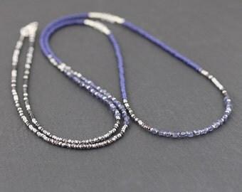Iolite, Rainbow Moonstone & Miyuki Seed Bead Necklace. Long Beaded Necklace. Blue Gemstone Wrap bracelet. Delicate Layering necklace