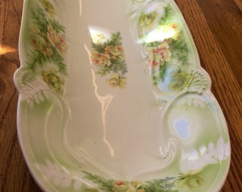 Antique Floral German China Long Serving Dish