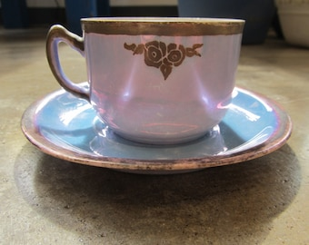 Antique Blue Lusterware Cup and Saucer Bavarian and German