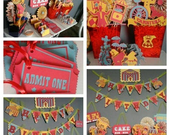 Carnival birthday package, circus birthday package, carnival birthday banner, assembled carnival birthday decorations, carnival theme party