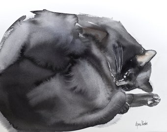 Sleeping cat - original watercolor painting
