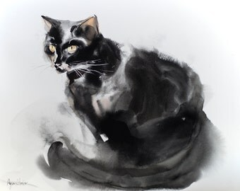 Sitting cat - watercolor painting