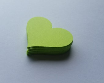 Lime Green Heart Die Cuts Party Scrapbooking Confetti Embellishments Weddings Gift Tags Set of 25