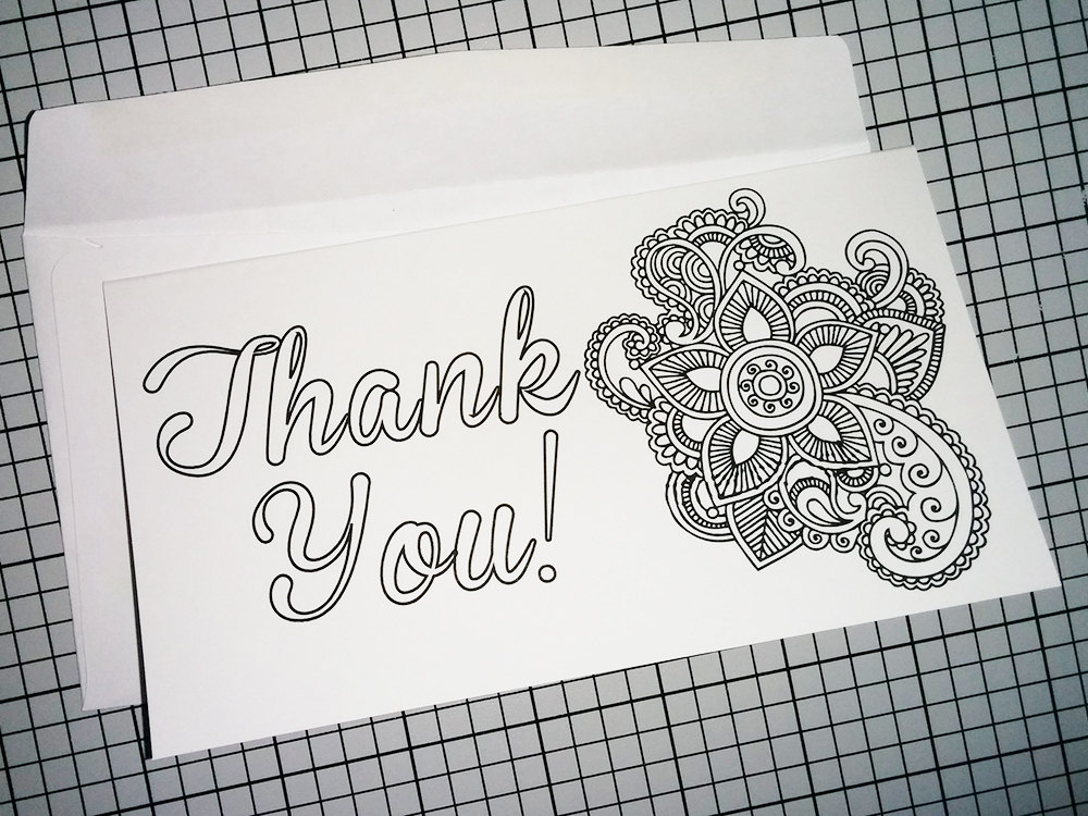 Printable Coloring Thank You Card