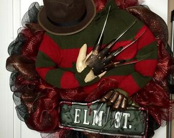 Nightmare on Elm Street Freddy Krueger Halloween Wreath Horror home decor