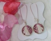 Floris & Florian- 9-warm summer roses- original print drop earrings- sterling silver wires.