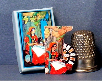 Gypsy Fortune Teller Game and Poster - Dollhouse Miniature - 1:12 scale - Game Box, Game Piece and Poster - Dollhouse Gypsy Game and Poster