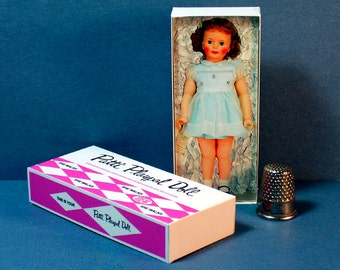 Patti Playpal Doll Box  -  Dollhouse Miniature - 1:12 scale - Dollhouse Accessory - 1960s Dollhouse girl toy -  Miniature doll box replica
