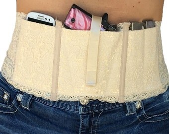 Hidden Heat Lace - Natural - Lace Waistband Conceal Carry Gun Holster for Women