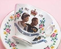Tea Cup and Saucer, Teacup Set, Bone China, Commemorative, Silver Jubilee, Queen Elizabeth, British Royal Family, Memorabilia, Floral -1970s