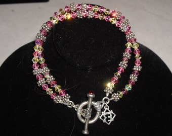 925 Sterling Silver Pink Crystal Double Strand Bracelet 7.5 in