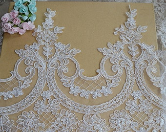 Ivory Lace Trim, Floral Lace Fabric, Vintage Flower Lace Trim, 9.5 inches Wide for Dress, Veilling,Costume,Craft Making 1 Yard