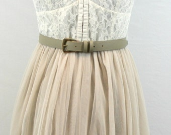 Cream and Beige Dress with spaghetti straps, lace top and sheer fabric skirt. By American Eagle. Sweet dress, summer dress, feminine dress