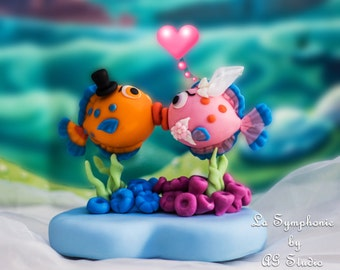 Unique. Wedding Cake Topper - Custom Lovely kissing fishes. Includes Base and Decoration.