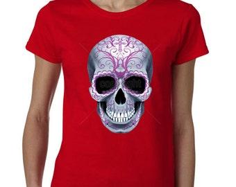 Sugar Skull Tshirt -Sugar Skull -Calavera -Day Of The Dead Tshirt -Womens Tshirt -Womens Shirt -Ladies Tshirt -Ladies Shirt  -Shirt -Tshirt