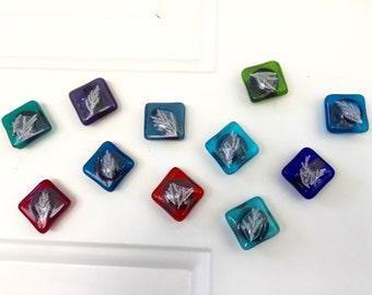 Fridge Magnets Set of 3, glass magnets, refrigerator magnet ,custom magnets,nature magnets, fused glass magnets, plant magnets, leaf magnets