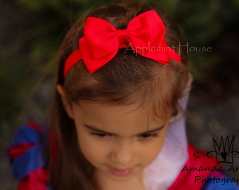 Snow White Princess Inspired Elastic Headband,Girls Red Bow Headband,Snow White Party Headband,Kids Headband, Baby Snow white Headband