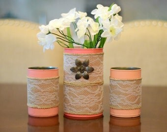 Painted Tin Can Vases with Lace Burlap