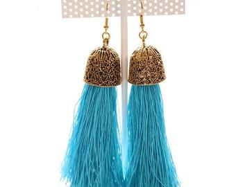 Tassel Earrings/ Boho Earrings/ Festival Earrings/ Turquoise Tassel Earrings/ Long Tassel Earrings/ Boho Jewelry/ Thick Tassel Earrings
