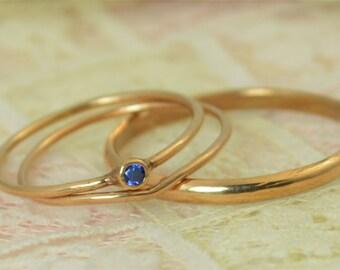 Tiny Sapphire Ring Set, Solid 14k Rose Gold Wedding Set, Stacking Ring, Solid 14k Gold Sapphire Ring, September Birthstone, Bridal Set