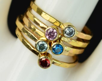 Grab 5 Classic 14k Gold Filled Birthstone Rings, Gold solitaire, solitaire ring, 14k gold filled,Birthstone, Mothers Ring, gold band