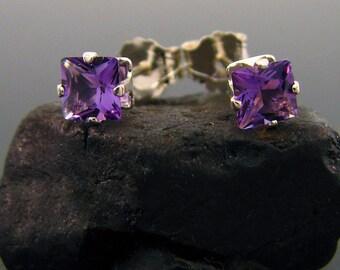 Purple studs, Amethyst earrings, amethyst square studs, genuine amethyst earring, amethyst stud earings 4x4 mm