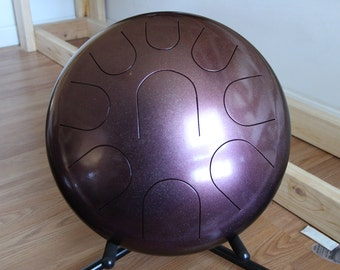 "14"" 9 Tone Ajna Steel Tongue Drum - Burgundy/Gold Chameleon Powder Coated - F Natural Minor"