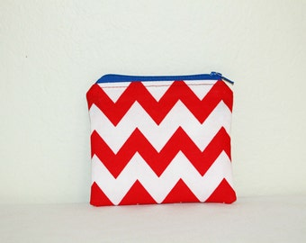 Red White and Blue Coin Pouch,  Coin Pouch, Small Pouch