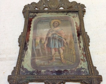 Vintage brass frame /print of aanon and gorgon