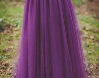 Floor length tulle skirt- bridesmaid skirt, eggplant, long tulle skirt, purple any color