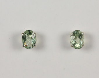 Sterling Silver Green Amethyst (Prasiolite) Earrings